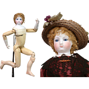"17.5"" Smiling Barrois  Poupee With Early Swivel Neck Fully Articulated Wooden Body & Bisque Arms~Some Boo-boos!"