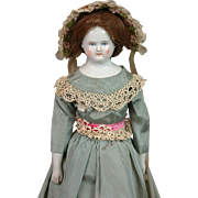 "Biedermeier Antique China Lady 15"" on Original Body in Cute Costume"
