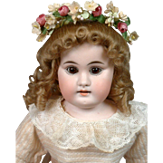 "Kestner Antique Bisque Girl 15"" in Beautiful Flower Wreath on Kidskin Body"