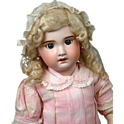 "28.5"" CHUNKY  Jumeau Bebe by SFBJ c1900 with Oval Jumeau Label, Blue Sleep Eyes and Antique Costume"