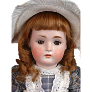 "Hertel & Schwabb 136 Antique Bisque Doll 20.5"" with Gorgeous Original Antique Wig"