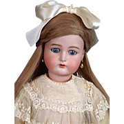 "Life-Sized 30"" Kammer & Reinhardt / S&H Antique Child Doll in Antique Dress & Human Hair Wig"