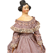 "Regal Late Georgian 11"" Apollo Knot Papier Mache Lady C. 1829-1840~All Original Finish~Excellent Condition!"