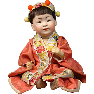 """14"""" Oriental Asian 243 Kestner Character Boy to Represent a Chinese Baby--He's Just Too CUTE!"""