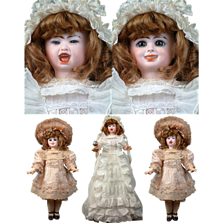 """Simply Magnificent! Super Rare Jumeau Series Fantastique 2-Faced French Character Bebe 18"""" tall--Cry/Laugh All Original plus Trousseau"""