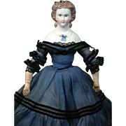 "Rare 14.5"" Parian Lady with molded blouse and bow, Fancy Snood with Dresden Décor and FABULOUS  Sapphire Blue Dress plus Provenance"