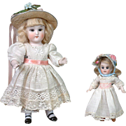 "Pair of All-Bisque German Dolls 7"" and 4"" Great for Cabinet Display"