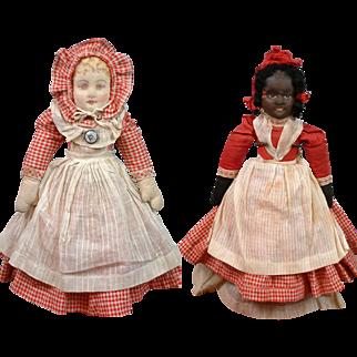 "Bruckner Topsy-Turvy Antique Cloth Doll 11.5"" in Original Red Check Costume Circa 1907"