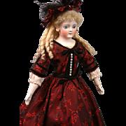 "19"" Gebruder Kuhnlenz Closed-mouth Antique doll   circa 1890 in Stunning Crimson Brocade"