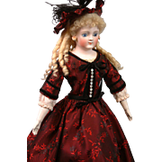 "19"" Gebruder Kuhnlens Closed-mouth Antique doll   circa 1890 in Stunning Crimson Brocade"