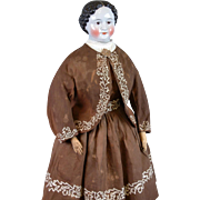 "Museum-Worthy All-Original China Lady 30"" Pre-Greiner c.1850 in All-Original Costume"