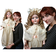 "Wonderful large 31""  Kley & Hahn Walkure  Antique Doll circa 1900 in Silk Brocade Ensemble"