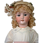 "Huge 31.5"" Walkure Kley & Hahn Antique Bisque Doll Girl in Antique Dress"