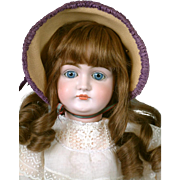 "27"" Kestner Closed Mouth Pouty Doll circa 1890 in Antique White Cotton & Lace Dress -- Excellent Condition!"