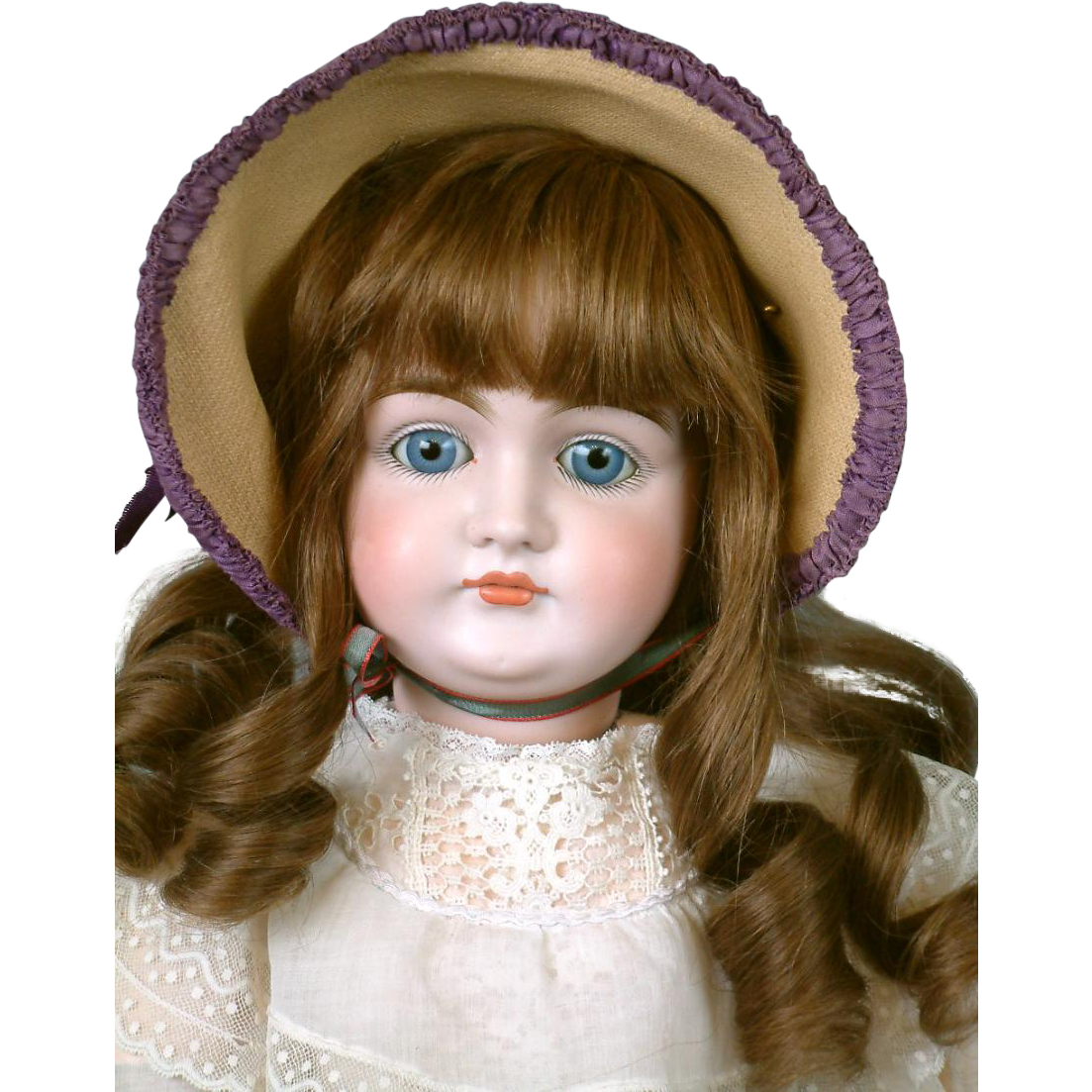 """27"""" Kestner Closed Mouth Pouty Doll circa 1890 in Antique White Cotton & Lace Dress -- Excellent Condition!"""