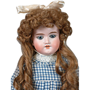 "Armand Marseille 390 21"" Antique Bisque Doll in Cute Plaid Blue Dress"