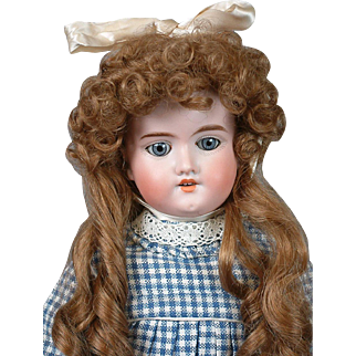 "Armand Marseille 390 21"" Antique Bisque Doll in Cute Plaid Blue Dress"