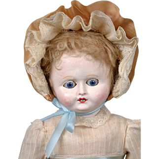 "Motschmann Antique Paper Mache Girl 13"" in Antique Dress with Blue Sleep Eyes"