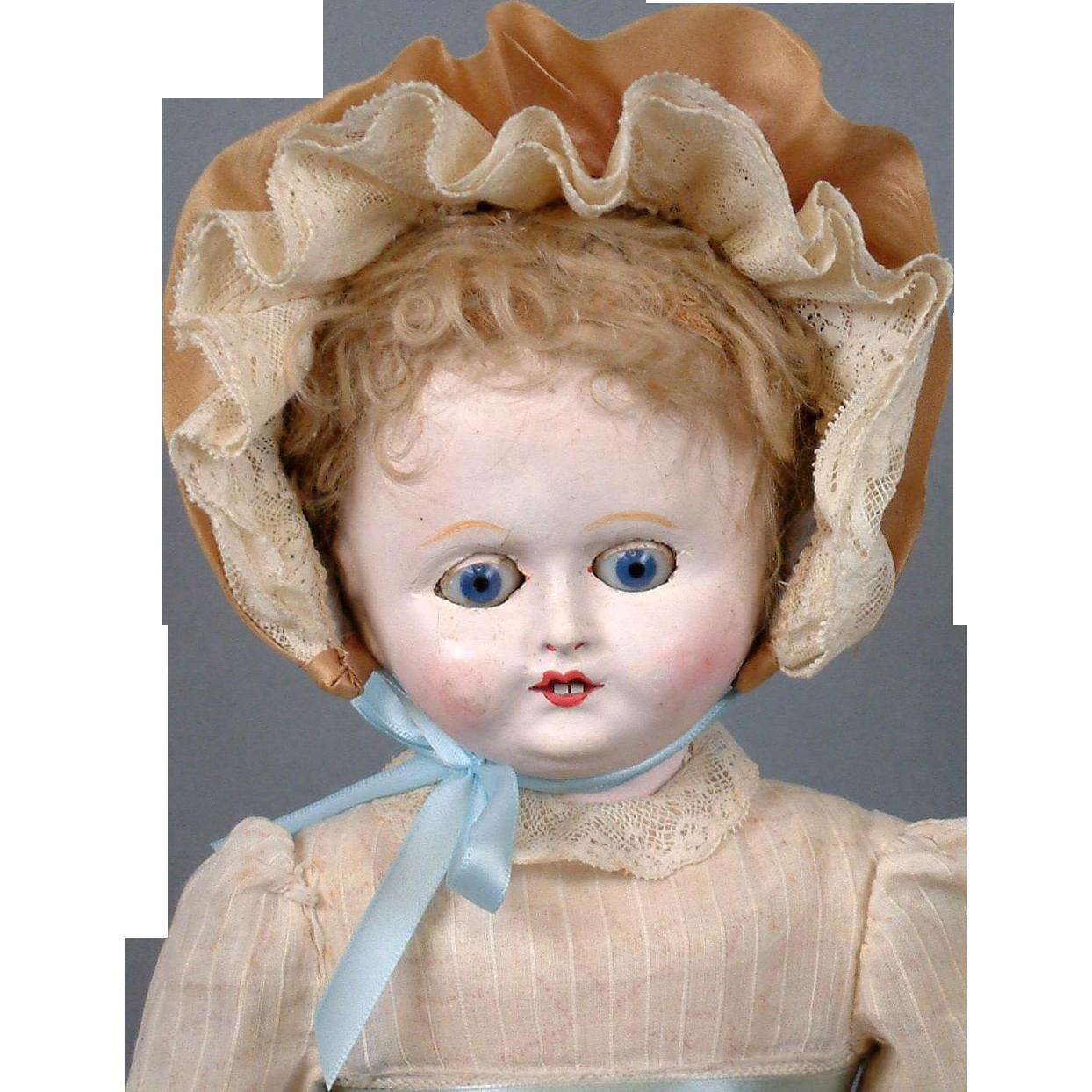 "Motschmann Antique Paper Mache Girl 13"" in Antique Dress with Blue Sleep Eyes"