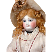 """Gorgeous 14"""" Jumeau Poupee With Cobalt Eyes + Wooden And Bisque Arms~Cabinet Ready~ C. 1873"""