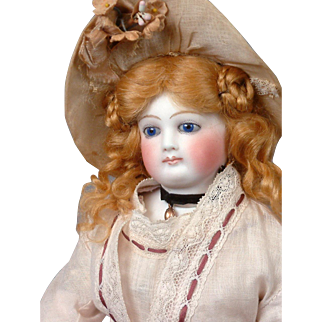 "Gorgeous 14"" Jumeau Poupee With Cobalt Eyes + Wooden And Bisque Arms~Cabinet Ready~ C. 1873"