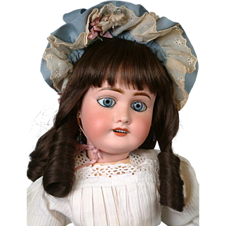 Precious French Lanternier Limoges Bebe Antique Doll in Sweet Costume 22""