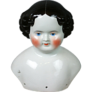 """Huge Antique China Lady Head 8.5"""" with Bright Blue Eyes"""