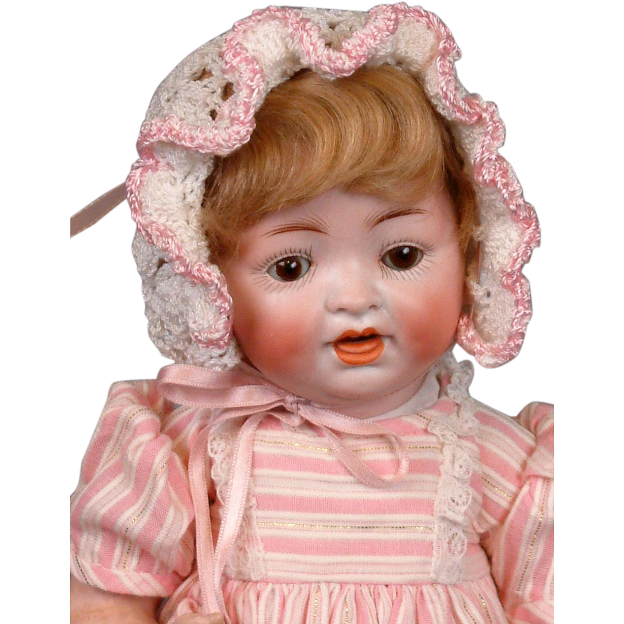 "Adorable Hertel & Schwabb 152 Antique Toddler Doll 11.5"" in Lush Pinks"