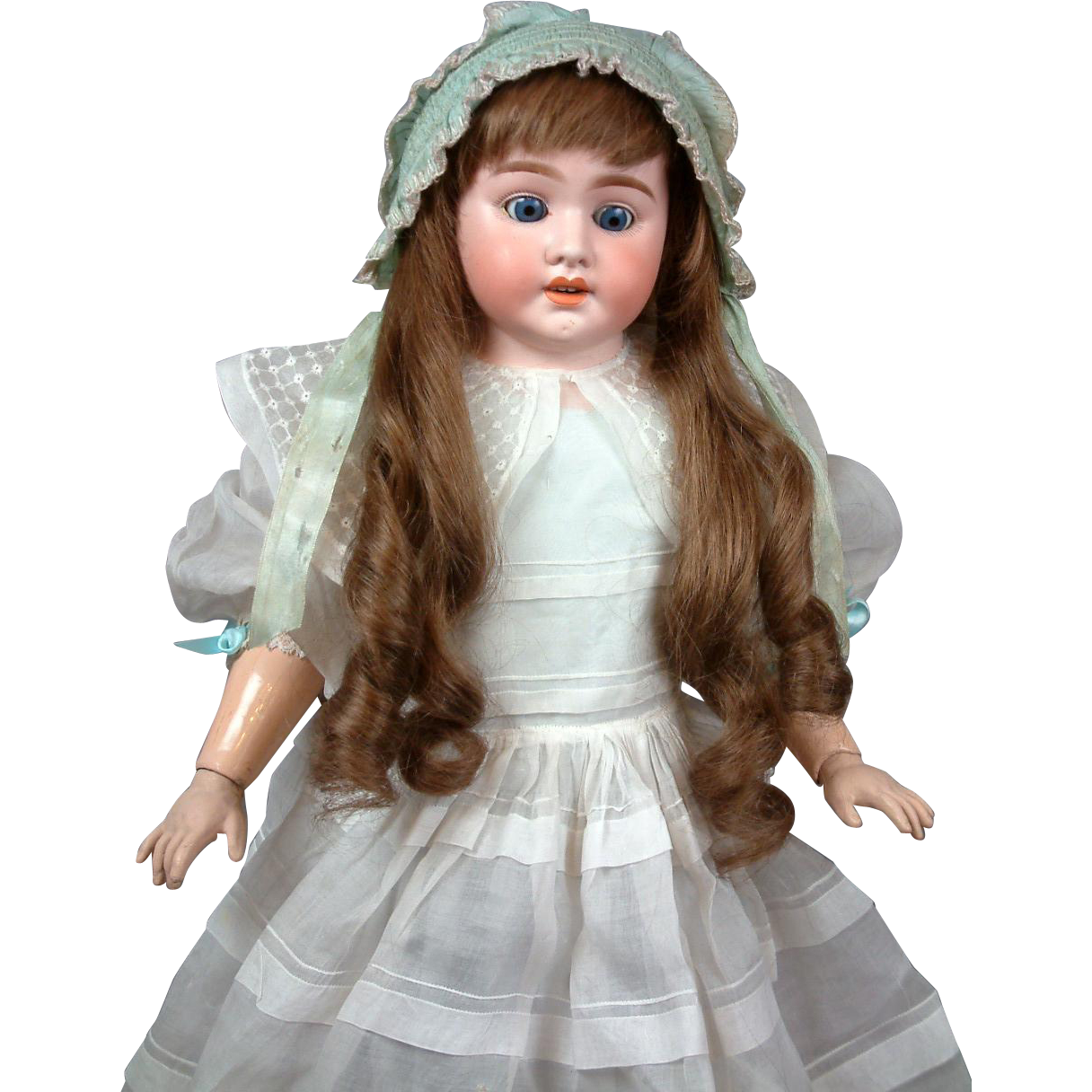 "Schoneau & Hoffmeister 27"" Antique Bisque Doll on Kidskin Body with Composition Arms"