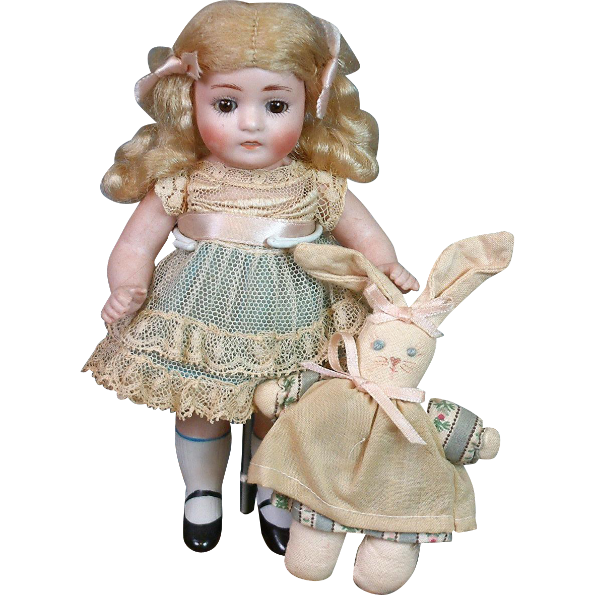 "All Bisque German Antique Doll Model Number 125 7"" w/Bunny"