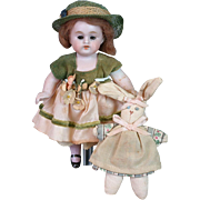 "All-Bisque Antique Girl Doll 6.5"" in Original Wig with Bunny"