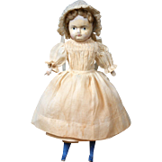 "Delightful 8.5"" Paper Mache Girl in Original Antique Costume w/Wood Limbs"