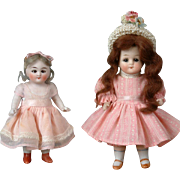 "Adorable Pair of All-Bisque German Dolls 5.5"" and 4.5"""
