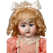 "Early Antique German Bisque Doll 15.5"" in Cute Pink Dress"