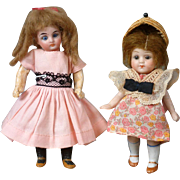 "Pair of Antique German Cabinet Dolls 4.5"" All-Bisque and 5.25"""