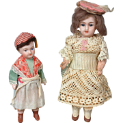 "Pair of Cabinet-Sized Bisque-Head Dolls 5"" and 6.5"" in Original Costumes"