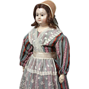 "Dulcet 17.5"" French Papier Mache Lady Doll Circa 1850 With Glass Eyes With Perfect Original Paint"