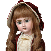 "Jumeau Open-Mouth Bebe 17.5"" with Human Hair Wig in Velvet Costume"