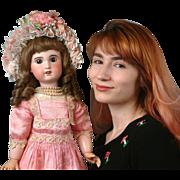 "Glowing 24"" SFBJ Jumeau Mold Bebe Doll In Gorgeous Rose Dress with Hazel Eyes"