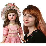 "Glowing 24"" SFBJ Jumeau Mold Bebe Doll In Gorgeous Rose Dress with Hazel Eyes"