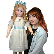 """MASSIVE """"Sweet Nell"""" 33.5"""" ABG 1362 Antique Bisque Doll in Antique Costume"""