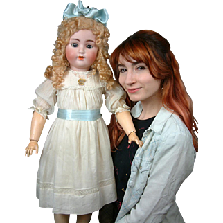 """HUGE """"Sweet Nell"""" 33.5"""" ABG 1362 Antique Bisque Doll in Antique Costume"""