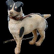 Victorian Antique Paper Mache Flocked Dog on Wheels with Collar Medallion