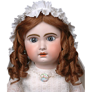 """Huge Stunning Chunky 32"""" Blue-Eyed Jumeau Bebe French Antique Doll in Classic Antique Costume!!"""