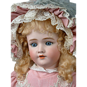 "Handwerck Halbig 109 DEP 30"" Antique Bisque Doll in Pink Bebe Dress"