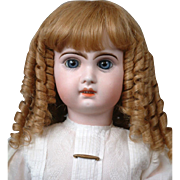 """Outstanding Strawberry Blond Original French Antique Bebe Hand-Tied Wig  Fits 11""""-13"""" Head Circ.~Perfect!"""