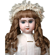 """25"""" Jumeau French Bebe Antique Doll in Antique Costume--So Beautiful"""