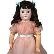 "25"" Adorable Antique Bruno Schmidt Child Doll in Darling Pink Dress"