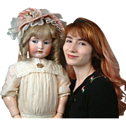 "Giant 35"" Flirty-eyed  Franz Schmidt Child with Perfect Bisque in Sweet Costume!"