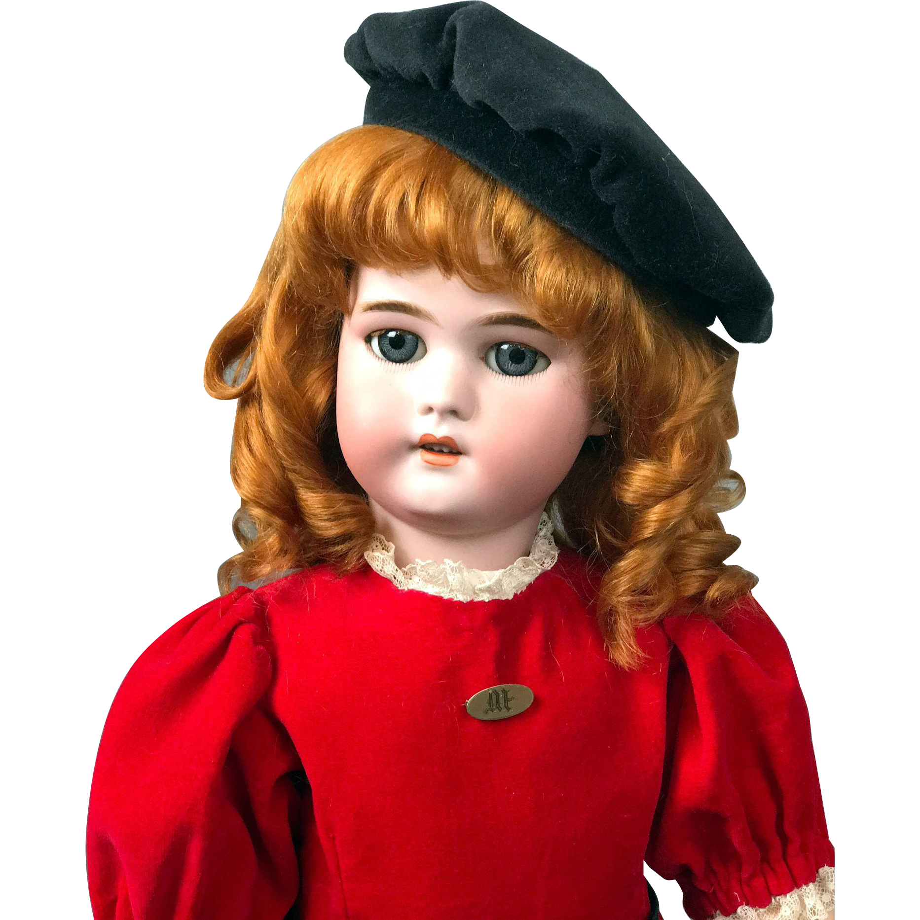 """23"""" Simon & Halbig 1079 Antique Doll In A Striking Red Costume"""
